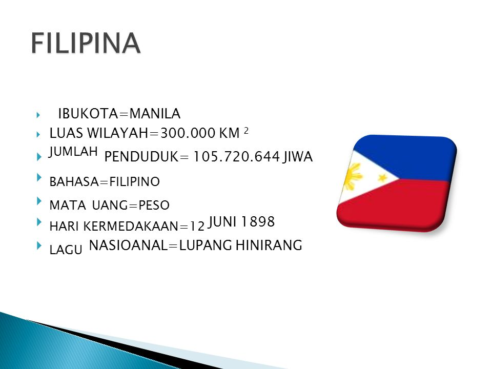 FILIPINA JUMLAH PENDUDUK= 105.720.644 JIWA BAHASA=FILIPINO