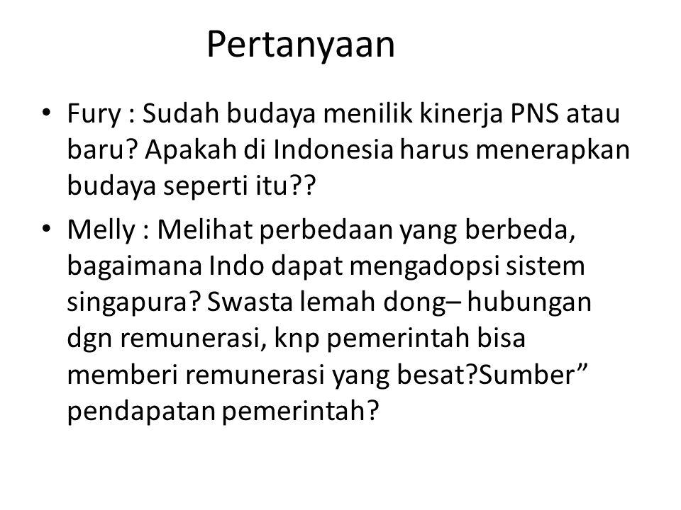 Pertanyaan Fury : Sudah budaya menilik kinerja PNS atau baru Apakah di Indonesia harus menerapkan budaya seperti itu