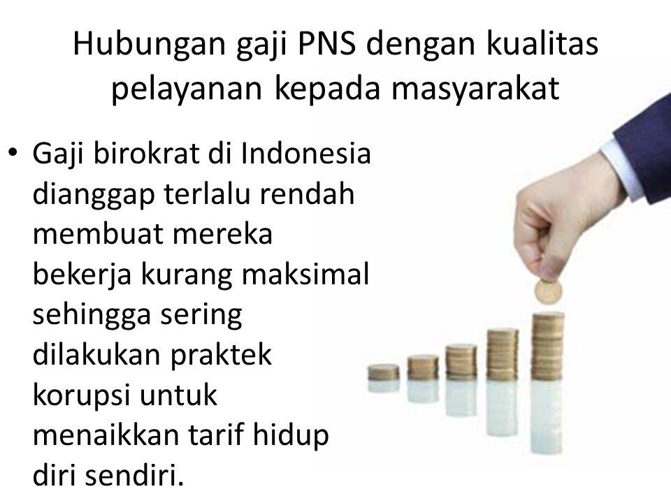 Hubungan gaji PNS dengan kualitas pelayanan kepada masyarakat