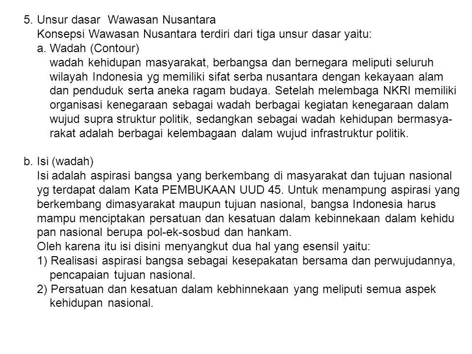 5. Unsur dasar Wawasan Nusantara