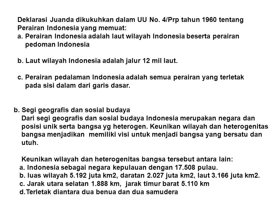 Deklarasi Juanda dikukuhkan dalam UU No. 4/Prp tahun 1960 tentang