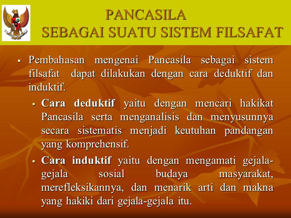 PANCASILA SEBAGAI SUATU SISTEM FILSAFAT