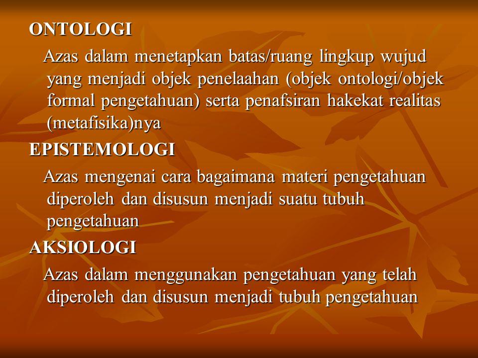 ONTOLOGI Azas dalam menetapkan batas/ruang lingkup wujud yang menjadi objek penelaahan (objek ontologi/objek formal pengetahuan) serta penafsiran hakekat realitas (metafisika)nya EPISTEMOLOGI Azas mengenai cara bagaimana materi pengetahuan diperoleh dan disusun menjadi suatu tubuh pengetahuan AKSIOLOGI Azas dalam menggunakan pengetahuan yang telah diperoleh dan disusun menjadi tubuh pengetahuan