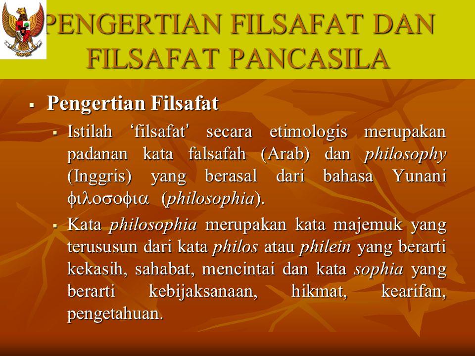 PENGERTIAN FILSAFAT DAN FILSAFAT PANCASILA