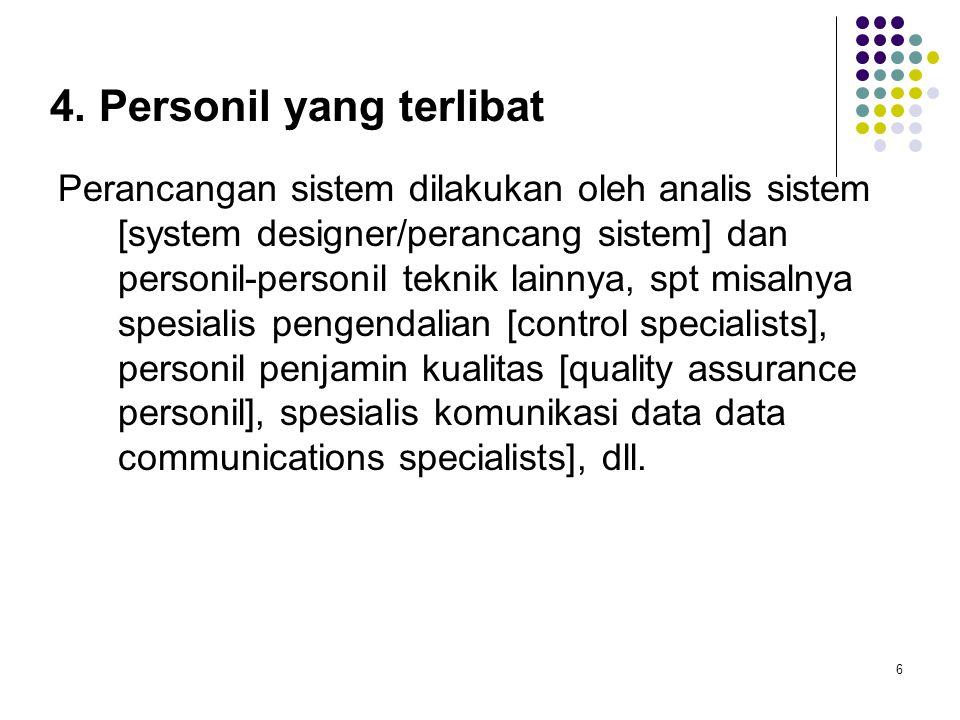 4. Personil yang terlibat