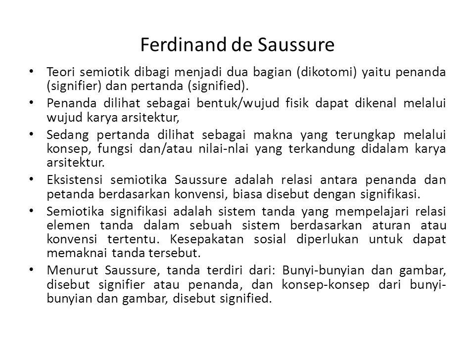 Ferdinand de Saussure Teori semiotik dibagi menjadi dua bagian (dikotomi) yaitu penanda (signifier) dan pertanda (signified).