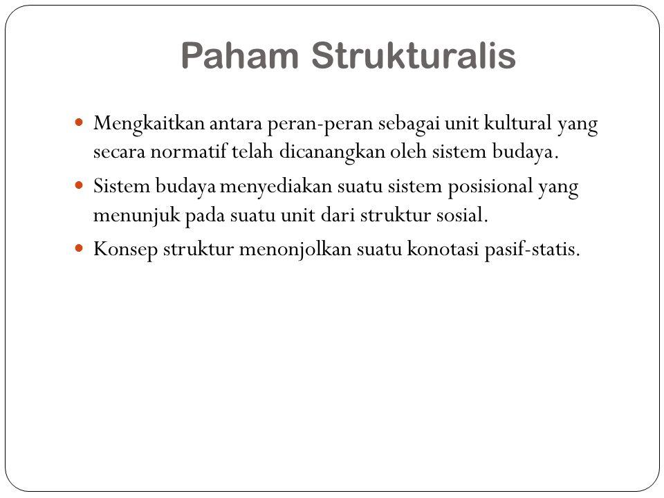 Paham Strukturalis Mengkaitkan antara peran-peran sebagai unit kultural yang secara normatif telah dicanangkan oleh sistem budaya.