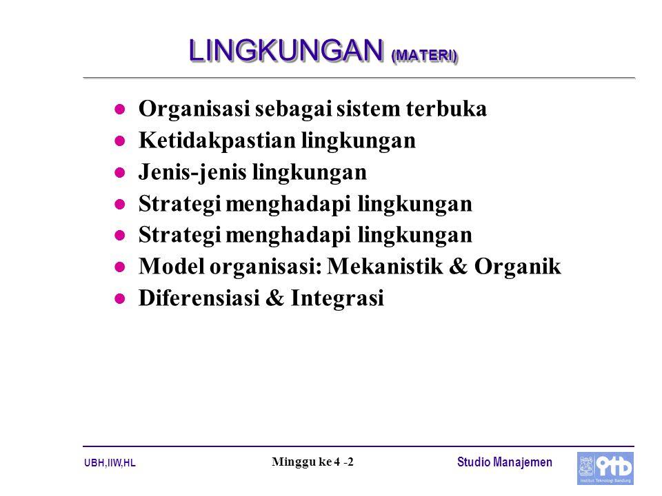 LINGKUNGAN (MATERI) Organisasi sebagai sistem terbuka
