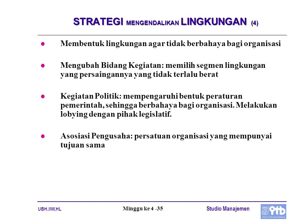 STRATEGI MENGENDALIKAN LINGKUNGAN (4)