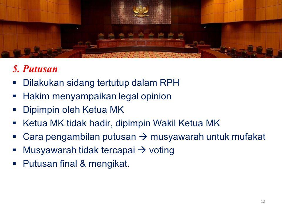 5. Putusan Dilakukan sidang tertutup dalam RPH