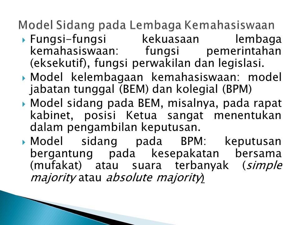 Model Sidang pada Lembaga Kemahasiswaan