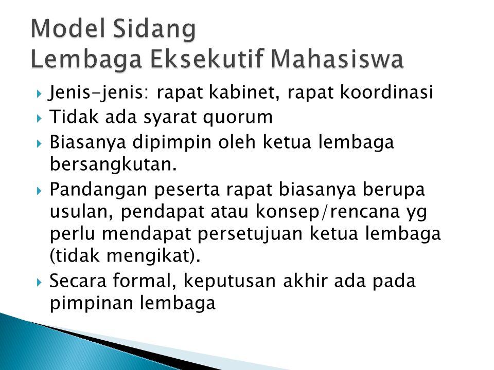 Model Sidang Lembaga Eksekutif Mahasiswa