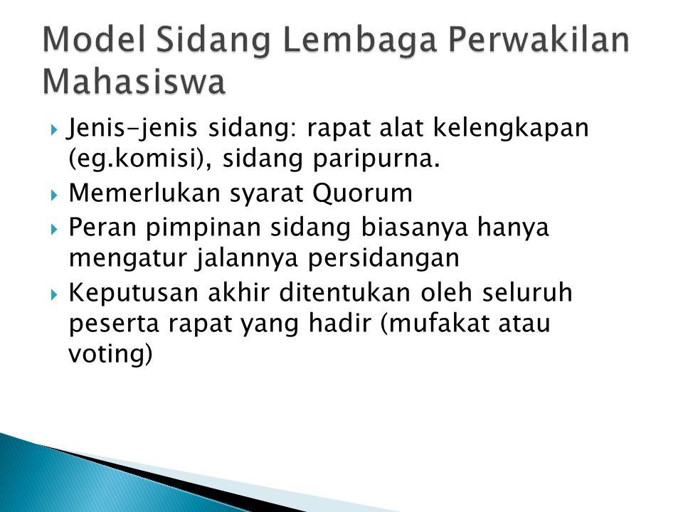 Model Sidang Lembaga Perwakilan Mahasiswa