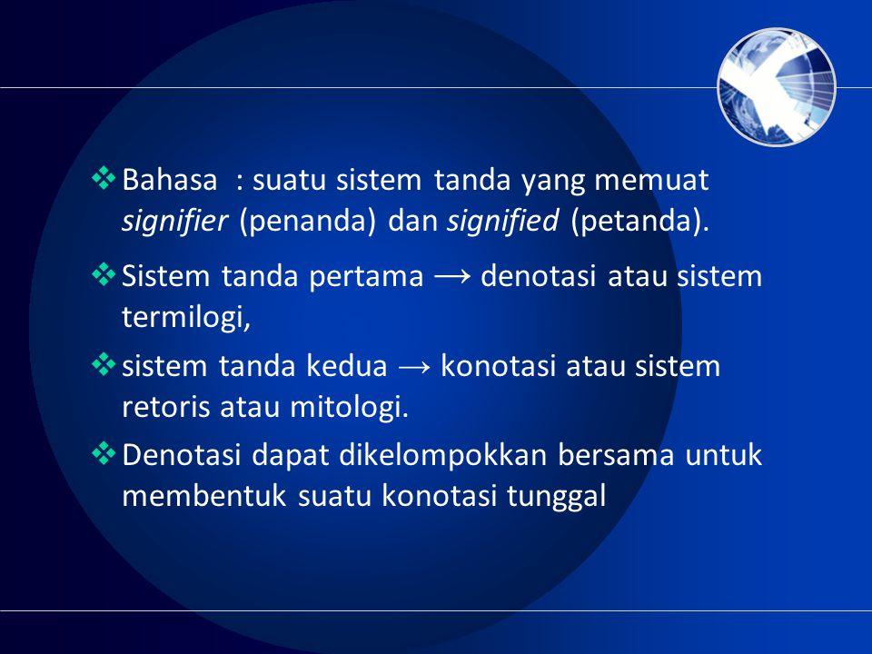 Bahasa : suatu sistem tanda yang memuat signifier (penanda) dan signified (petanda).