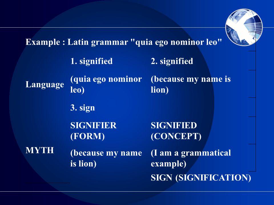 Example : Latin grammar quia ego nominor leo