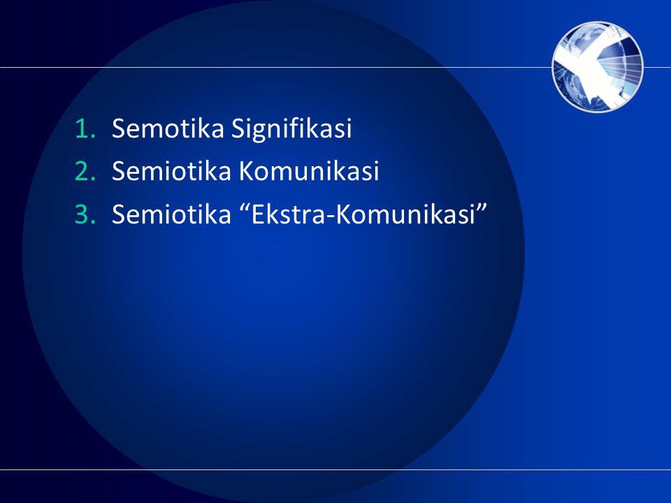 Semotika Signifikasi Semiotika Komunikasi Semiotika Ekstra-Komunikasi