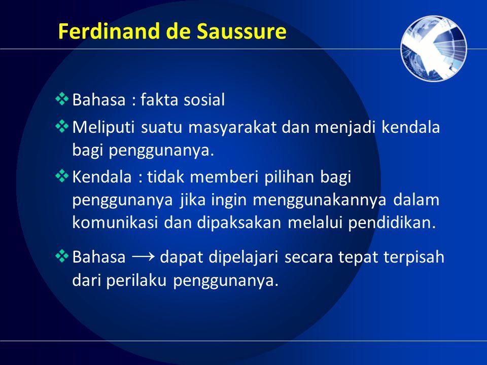 Ferdinand de Saussure Bahasa : fakta sosial