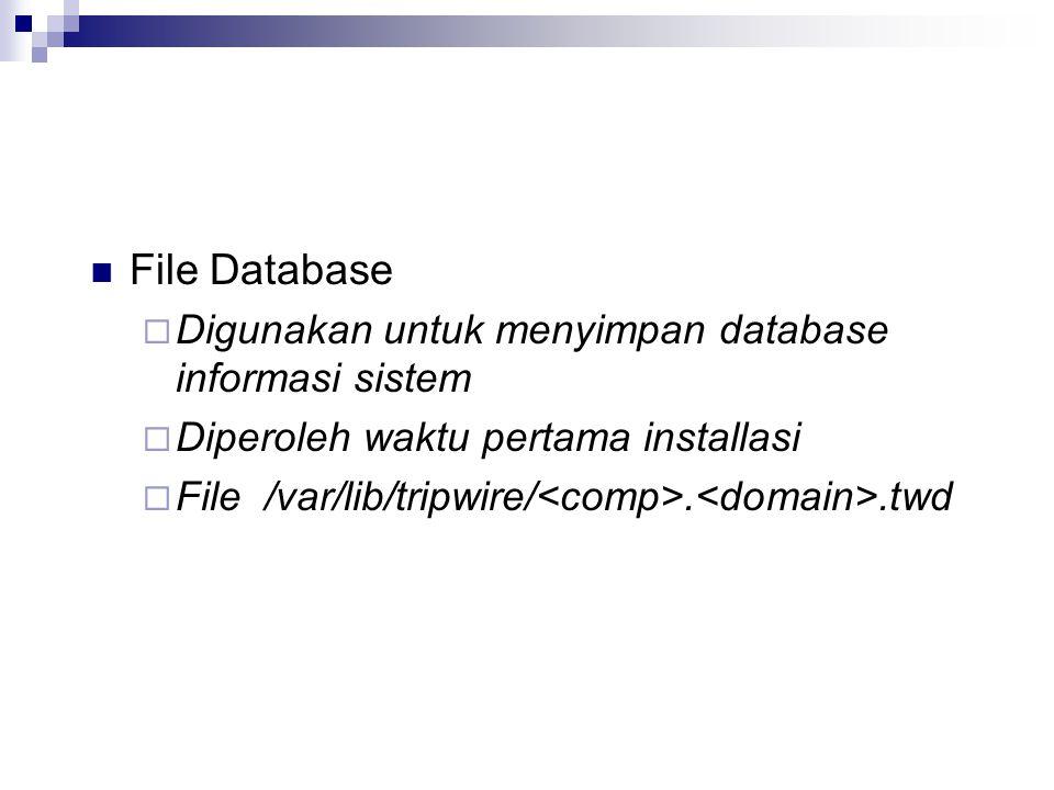 File Database Digunakan untuk menyimpan database informasi sistem