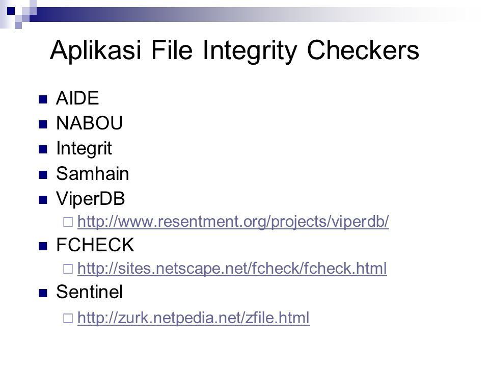 Aplikasi File Integrity Checkers