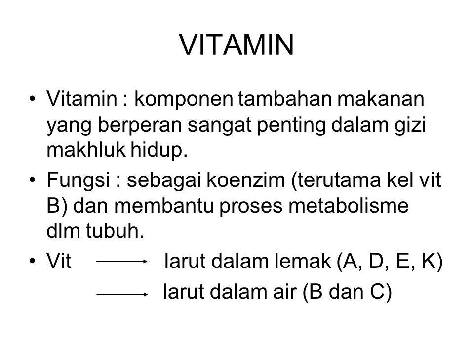VITAMIN Vitamin : komponen tambahan makanan yang berperan sangat penting dalam gizi makhluk hidup.
