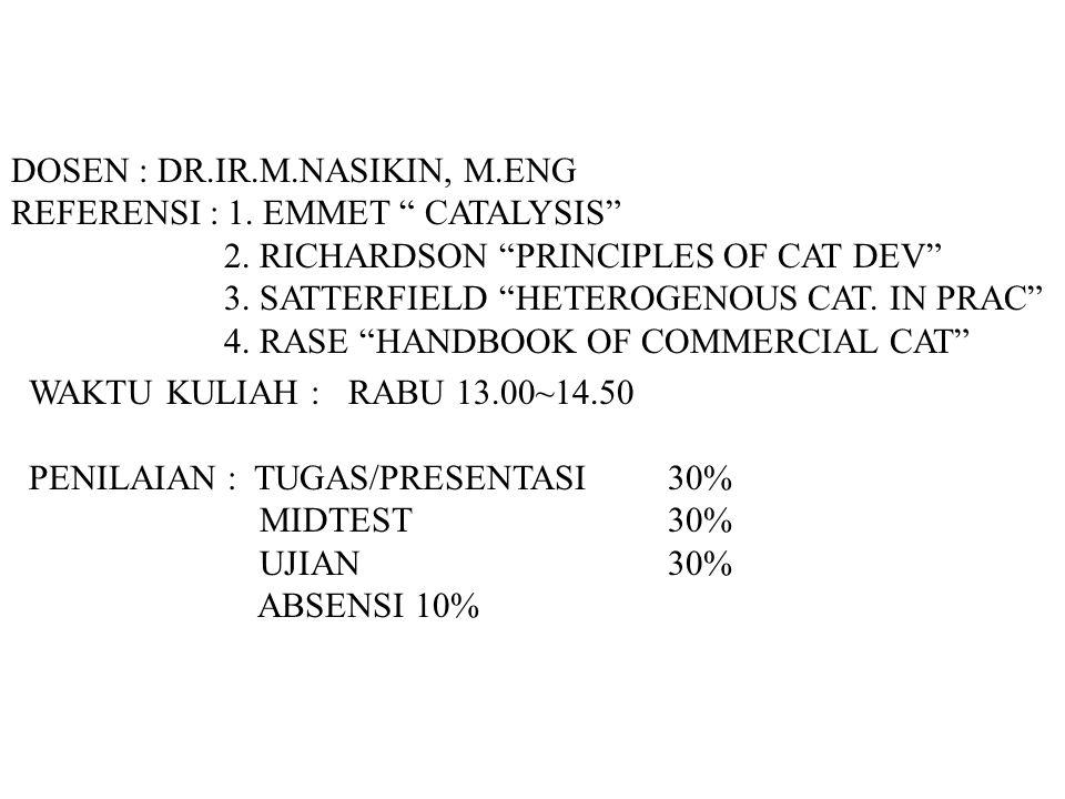 DOSEN : DR.IR.M.NASIKIN, M.ENG