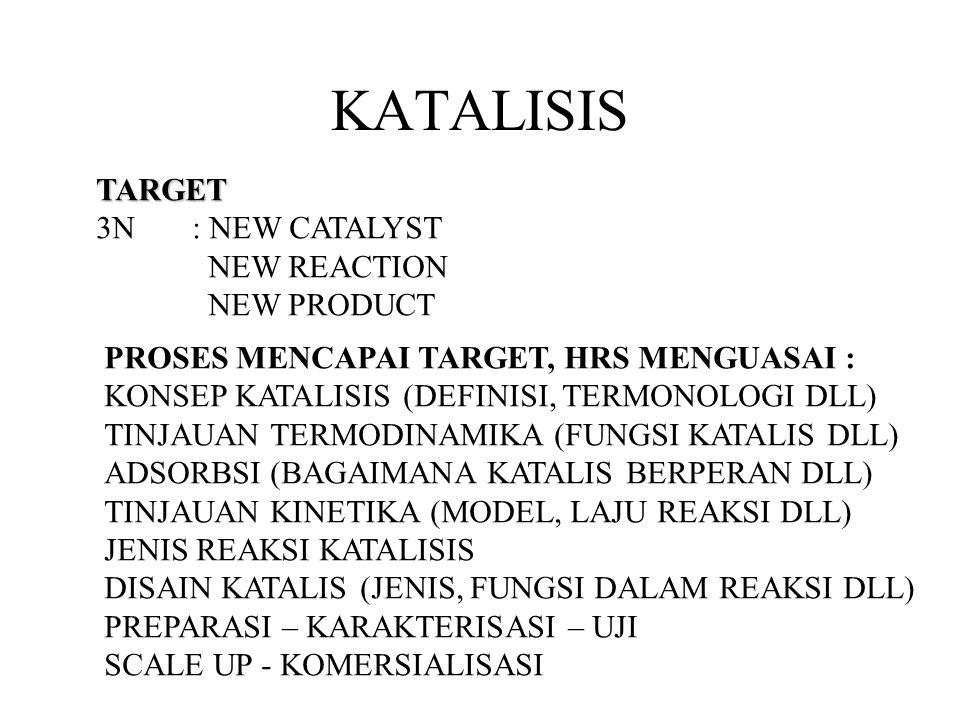KATALISIS TARGET 3N : NEW CATALYST NEW REACTION NEW PRODUCT