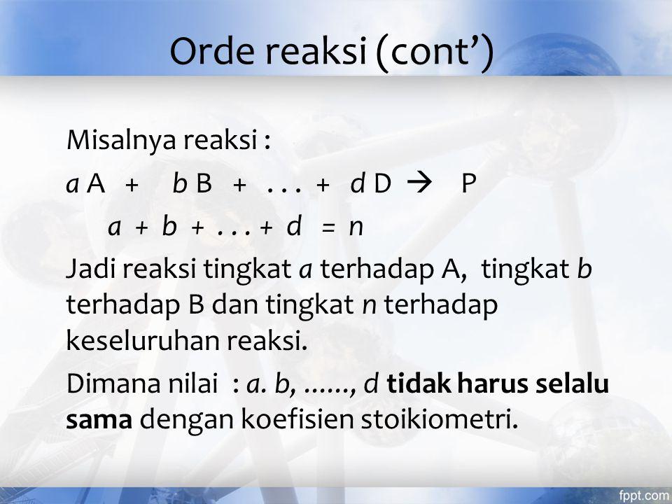 Orde reaksi (cont')
