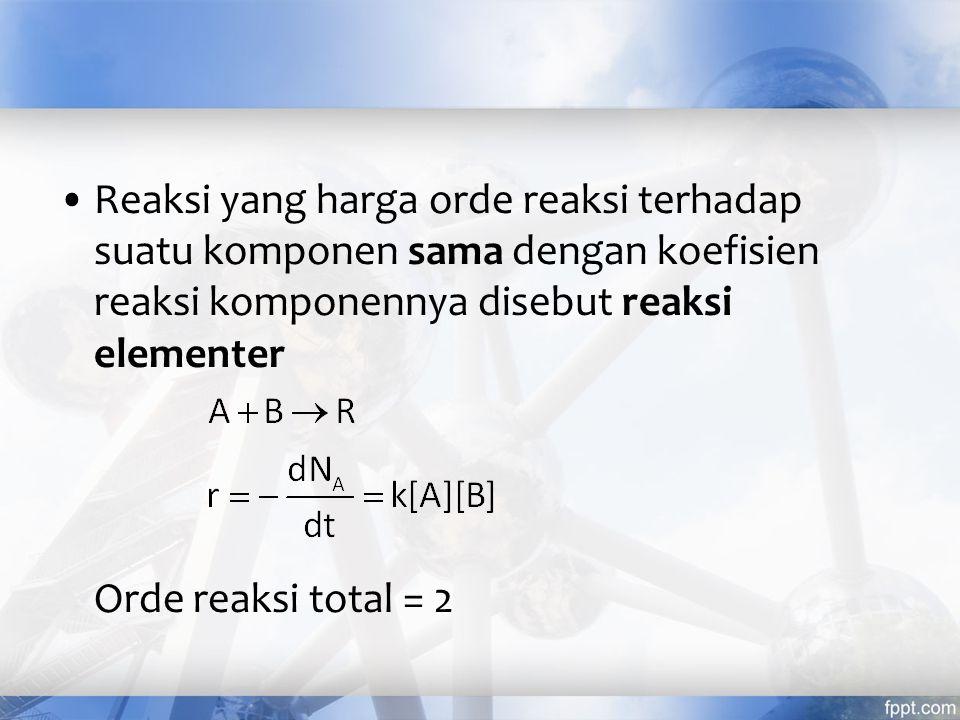 Reaksi yang harga orde reaksi terhadap suatu komponen sama dengan koefisien reaksi komponennya disebut reaksi elementer
