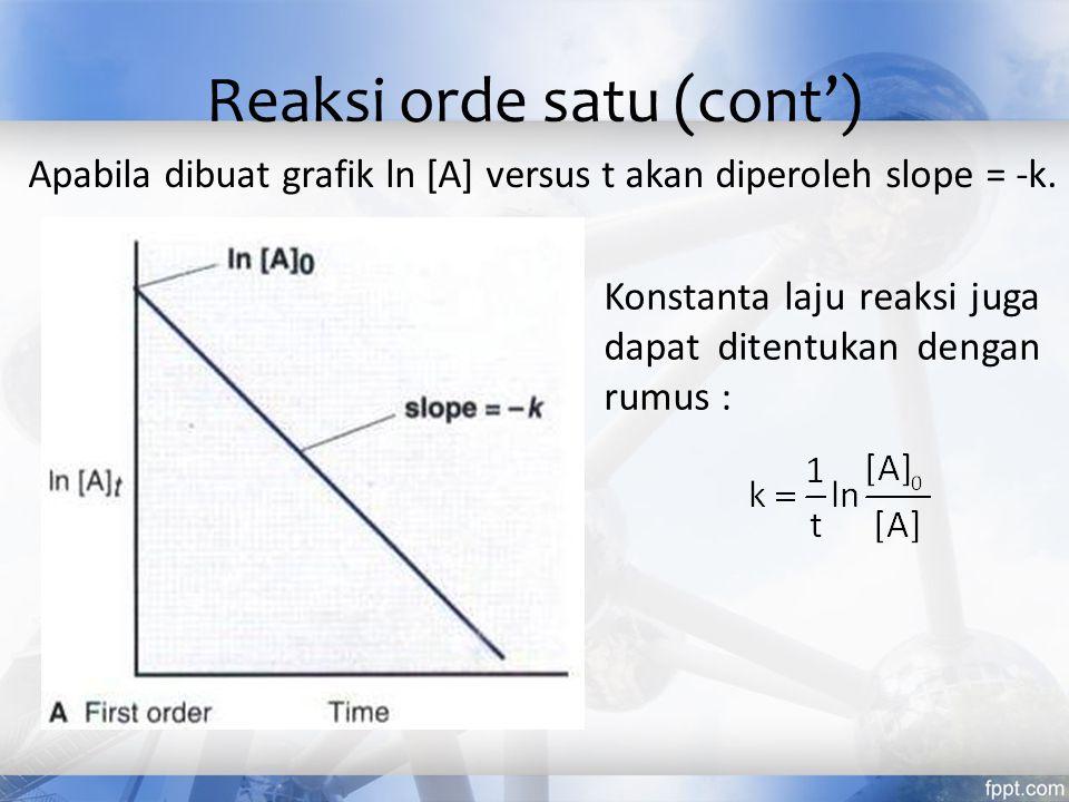 Reaksi orde satu (cont')