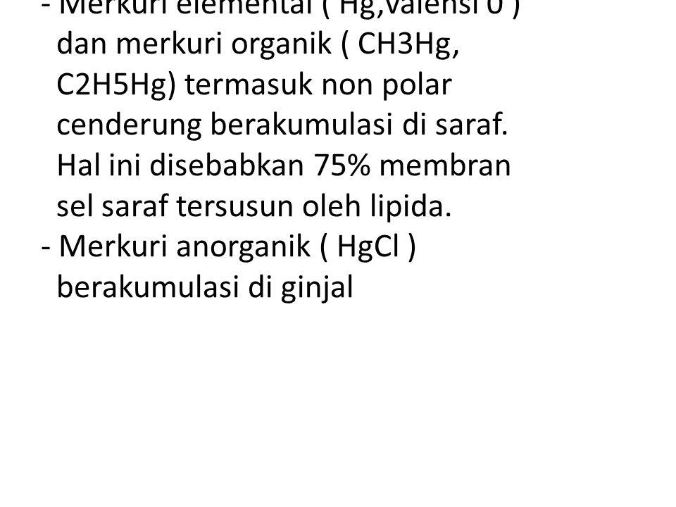 - Merkuri elemental ( Hg,valensi 0 ) dan merkuri organik ( CH3Hg, C2H5Hg) termasuk non polar cenderung berakumulasi di saraf.