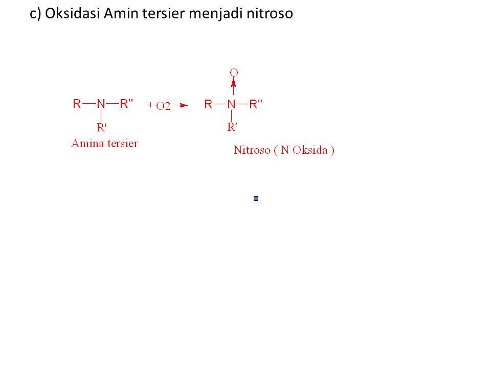 c) Oksidasi Amin tersier menjadi nitroso
