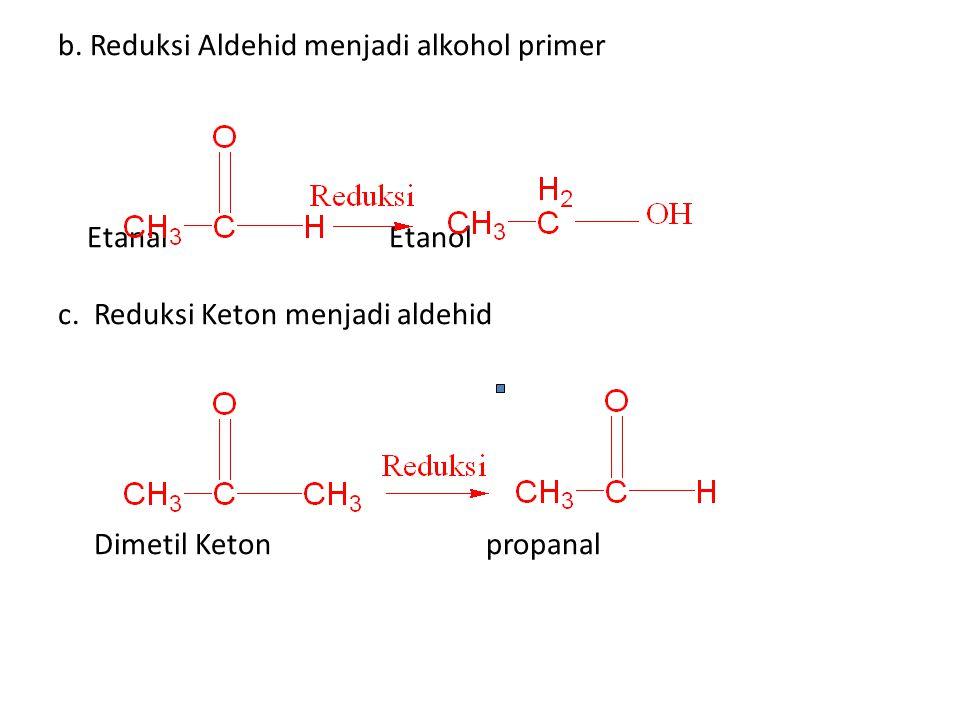 b. Reduksi Aldehid menjadi alkohol primer Etanal Etanol c