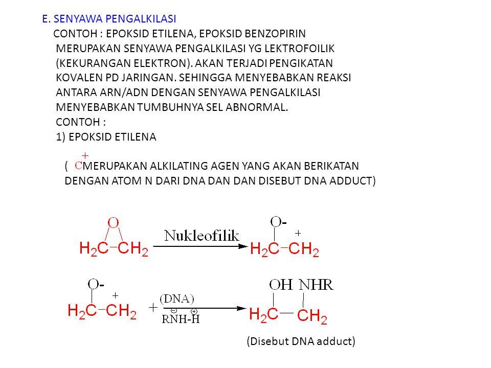 E. SENYAWA PENGALKILASI CONTOH : EPOKSID ETILENA, EPOKSID BENZOPIRIN MERUPAKAN SENYAWA PENGALKILASI YG LEKTROFOILIK (KEKURANGAN ELEKTRON). AKAN TERJADI PENGIKATAN KOVALEN PD JARINGAN. SEHINGGA MENYEBABKAN REAKSI ANTARA ARN/ADN DENGAN SENYAWA PENGALKILASI MENYEBABKAN TUMBUHNYA SEL ABNORMAL. CONTOH : 1) EPOKSID ETILENA ( MERUPAKAN ALKILATING AGEN YANG AKAN BERIKATAN DENGAN ATOM N DARI DNA DAN DAN DISEBUT DNA ADDUCT)