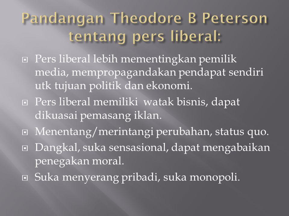 Pandangan Theodore B Peterson tentang pers liberal: