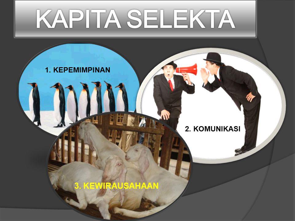KAPITA SELEKTA 1. KEPEMIMPINAN 2. KOMUNIKASI 3. KEWIRAUSAHAAN