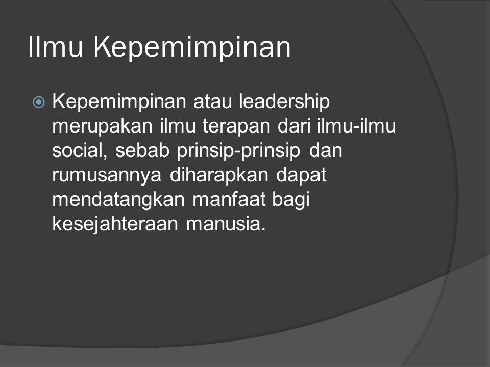 Ilmu Kepemimpinan