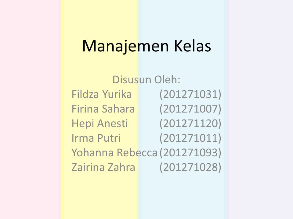 Manajemen Kelas Disusun Oleh: Fildza Yurika (201271031)