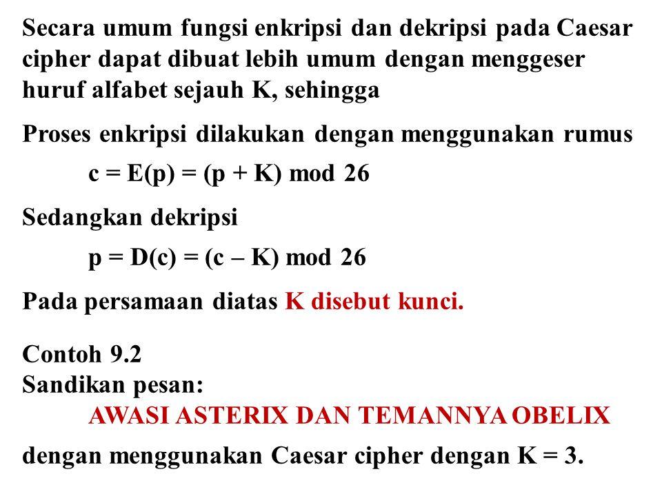 Secara umum fungsi enkripsi dan dekripsi pada Caesar cipher dapat dibuat lebih umum dengan menggeser huruf alfabet sejauh K, sehingga