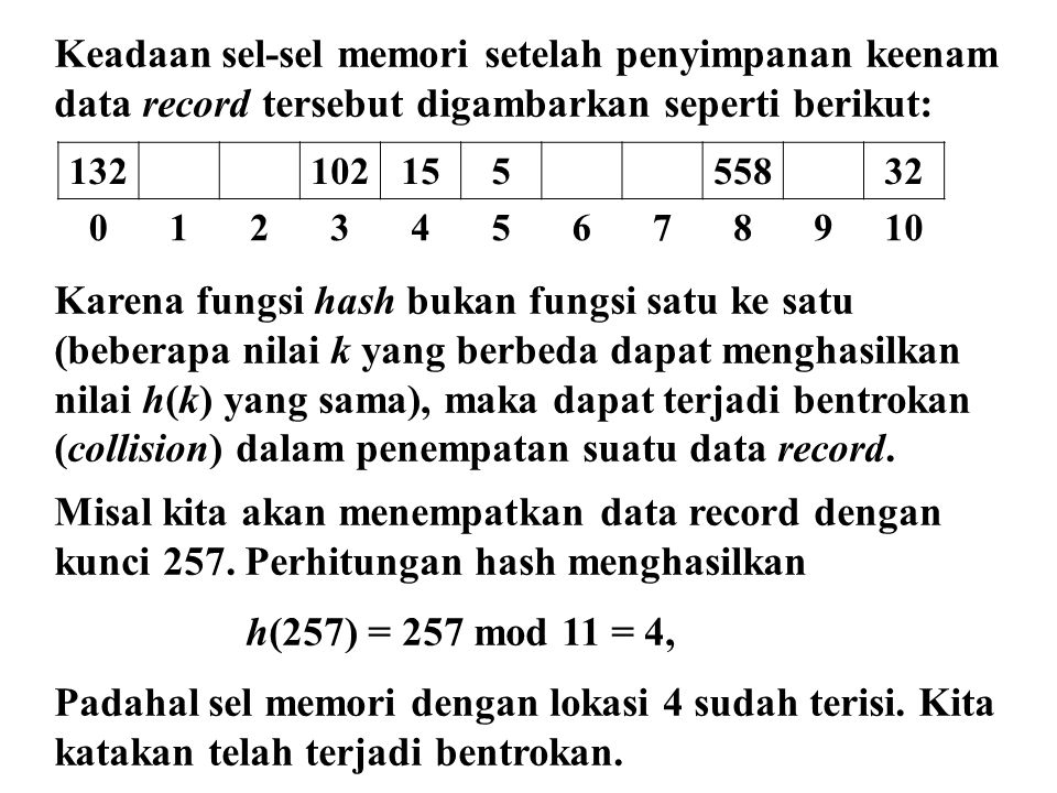 Keadaan sel-sel memori setelah penyimpanan keenam data record tersebut digambarkan seperti berikut: