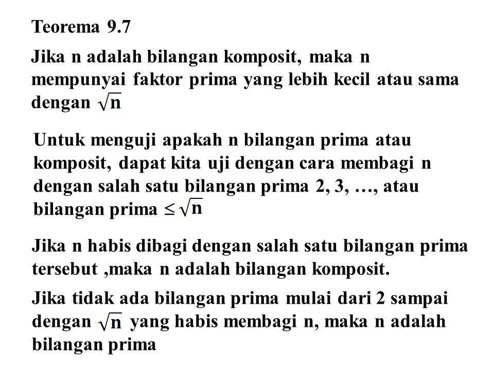 Teorema 9.7 Jika n adalah bilangan komposit, maka n mempunyai faktor prima yang lebih kecil atau sama dengan.
