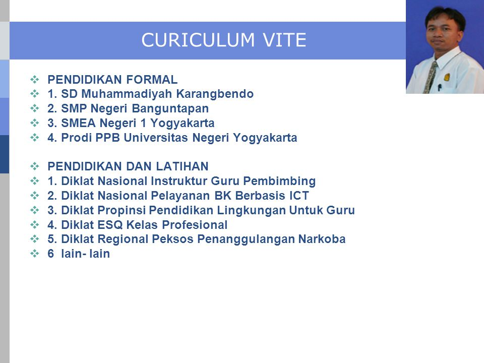 CURICULUM VITE PENDIDIKAN FORMAL 1. SD Muhammadiyah Karangbendo