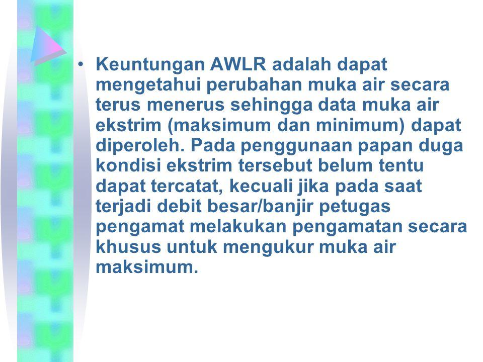Keuntungan AWLR adalah dapat mengetahui perubahan muka air secara terus menerus sehingga data muka air ekstrim (maksimum dan minimum) dapat diperoleh.