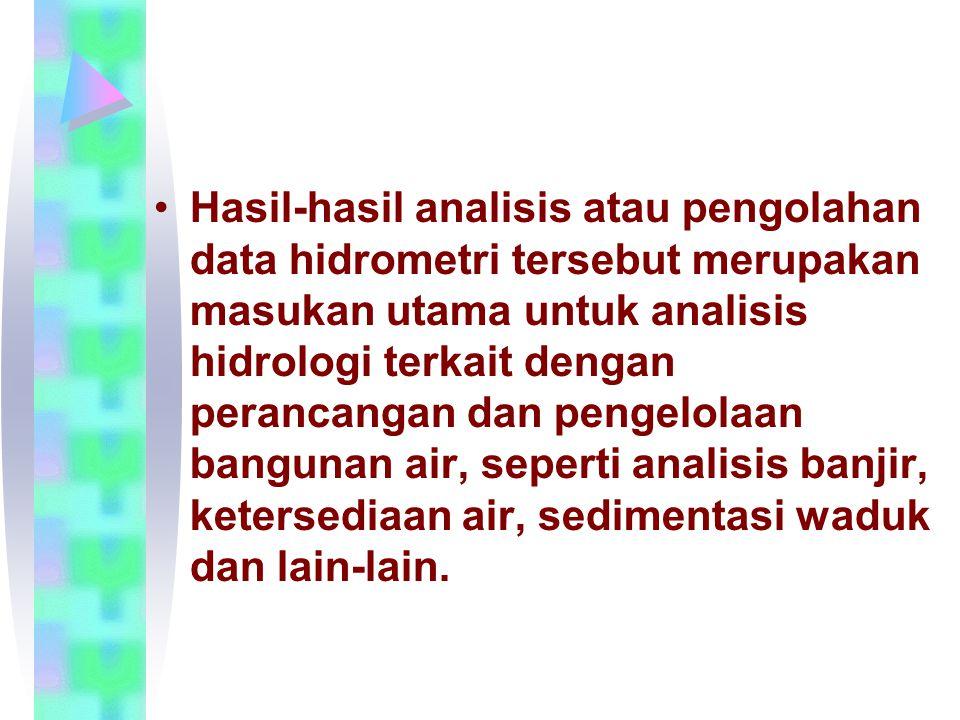 Hasil-hasil analisis atau pengolahan data hidrometri tersebut merupakan masukan utama untuk analisis hidrologi terkait dengan perancangan dan pengelolaan bangunan air, seperti analisis banjir, ketersediaan air, sedimentasi waduk dan lain-lain.