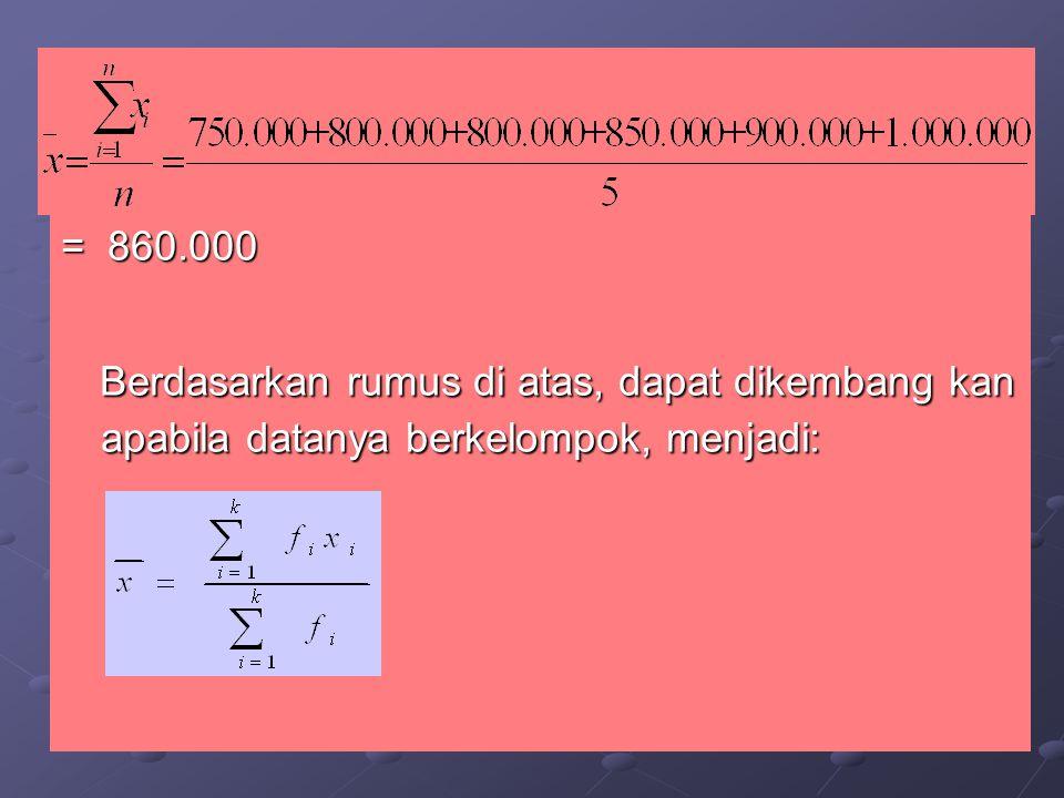 = 860.000 Berdasarkan rumus di atas, dapat dikembang kan apabila datanya berkelompok, menjadi: