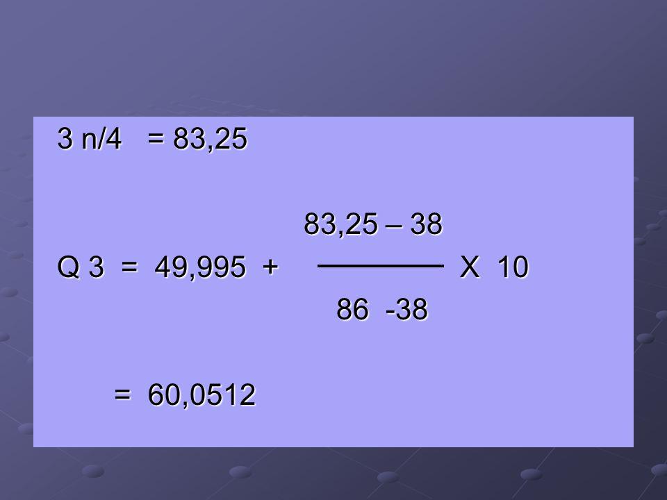 3 n/4 = 83,25 83,25 – 38 Q 3 = 49,995 + X 10 86 -38 = 60,0512