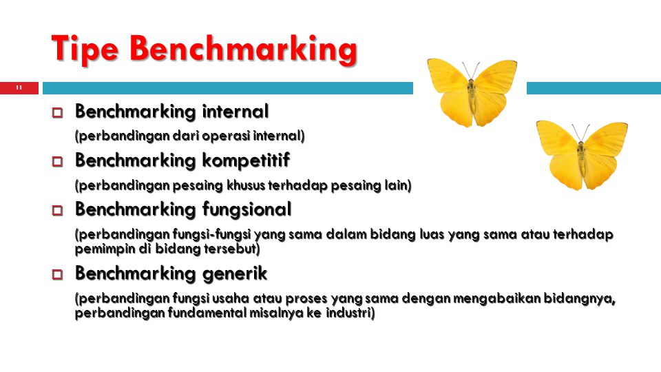 Tipe Benchmarking Benchmarking internal Benchmarking kompetitif