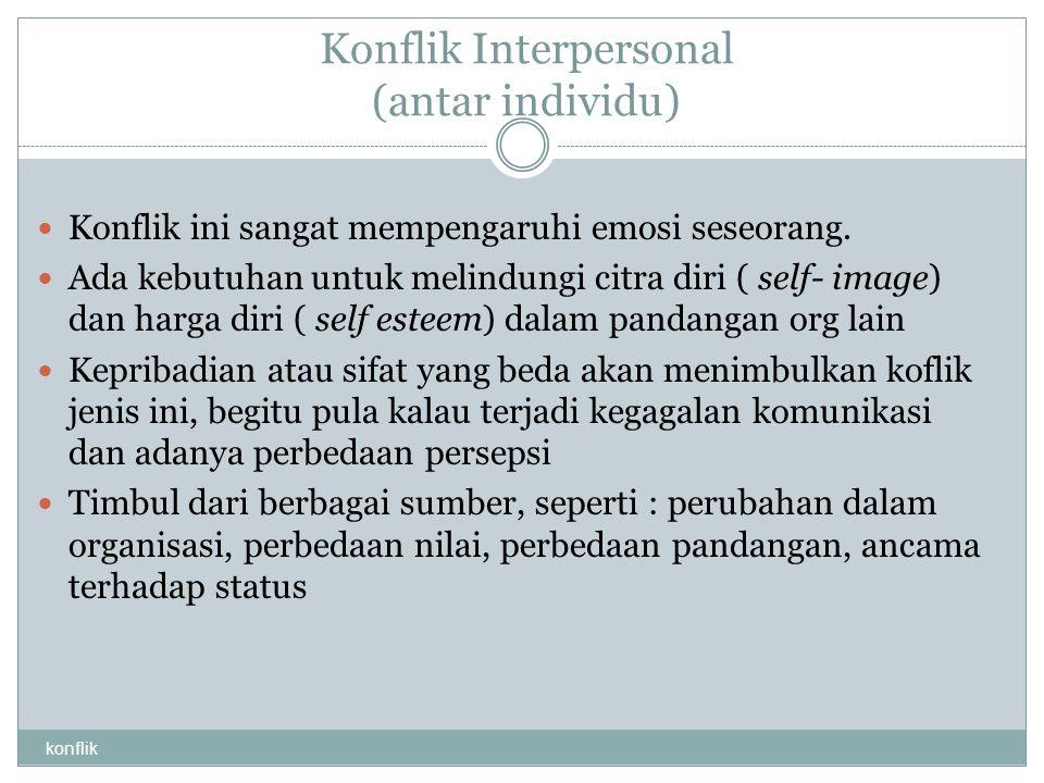 Konflik Interpersonal (antar individu)