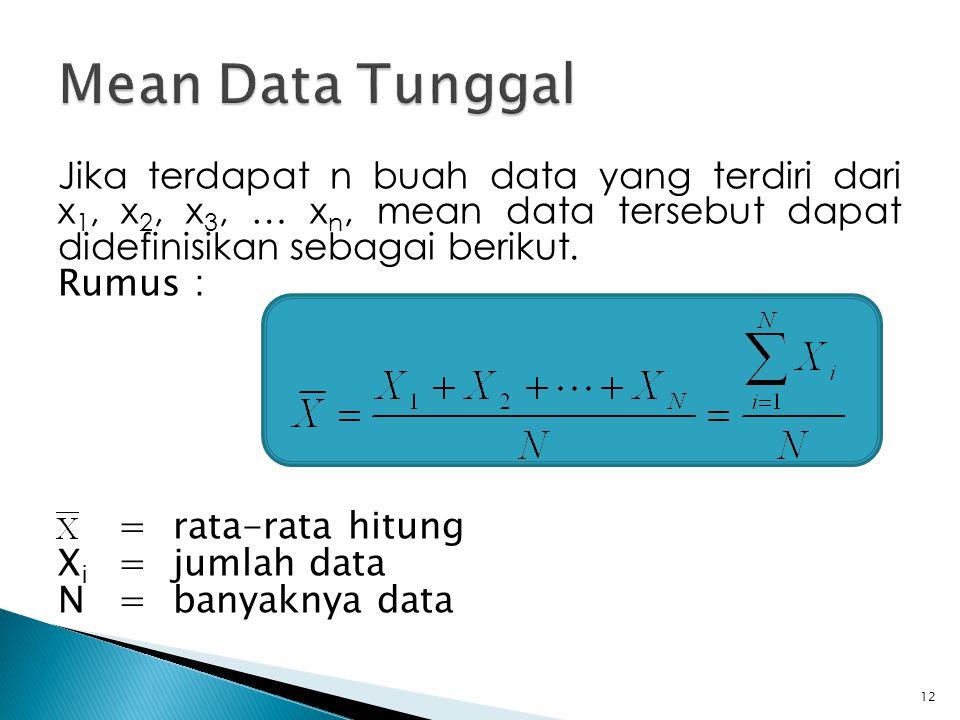 Mean Data Tunggal Jika terdapat n buah data yang terdiri dari x1, x2, x3, … xn, mean data tersebut dapat didefinisikan sebagai berikut.