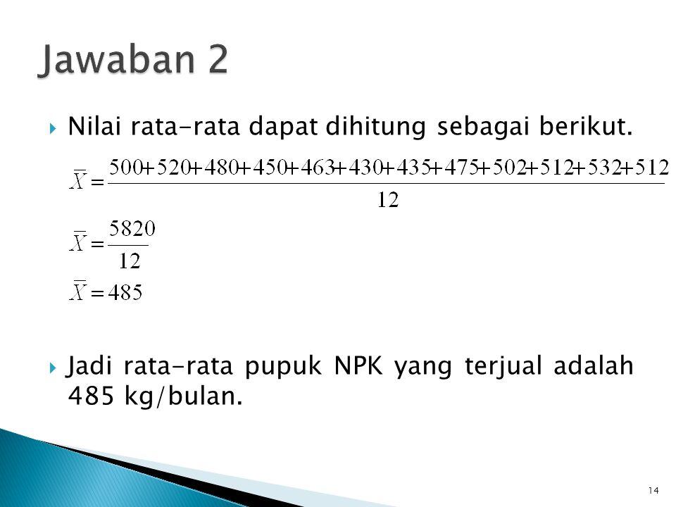 Jawaban 2 Nilai rata-rata dapat dihitung sebagai berikut.
