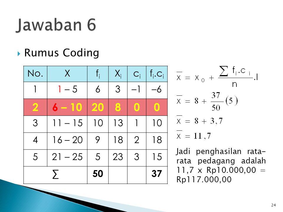 Jawaban 6 2 6 – 10 20 8 Rumus Coding No. X fi Xi ci fi.ci 1 1 – 5 6 3